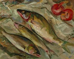 Three Fish', 1989, 42x54