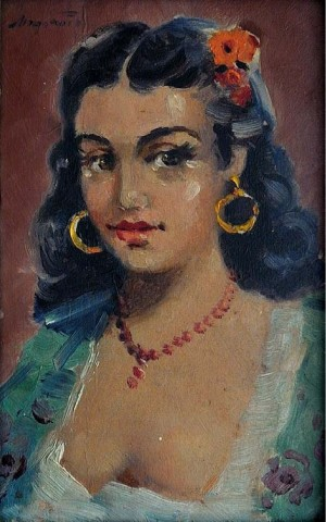 Portrait Of A Gipsy Woman, oil on canvas, 16x10