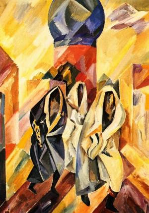 Three Women In A Burqa', 1978, oil on fibreboard, 70x50