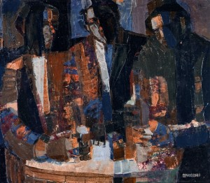 In The Tavern, 1984, oil on masonite, 55x70