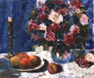 Roses, Apples And A Candle Holder, 1981, 50x60