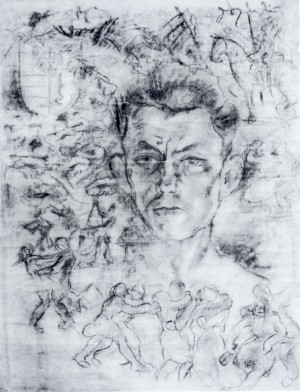 Composition, 1940, coal on paper, 65x50