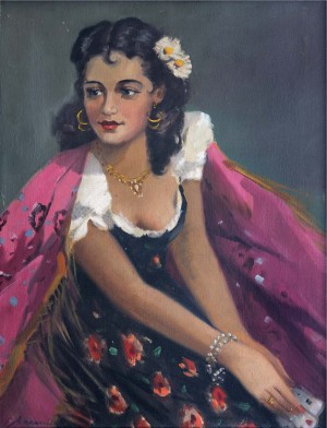Portrait Of A Gipsy Woman, oil on canvas, 77x59