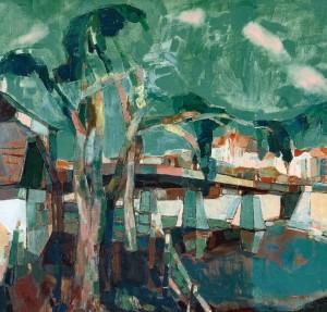 Uzhhorod Bridge In Spring, 2008, oil on canvas,90x100