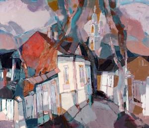 Uzhhorod. Kapitulna Street, 2004, oil, acrylic on canvas, 85x100