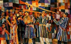 Uzbek Holiday', 1975, oil on cardboard, 50x80