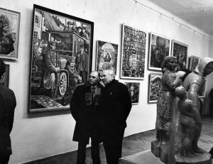 V. Habda and Z. Sholtes at the regional exhibition. Uzhhorod, end of 1970
