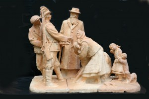 Execution, 1973, terracotta, round sculpture