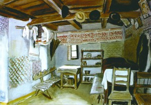 The Interior Of The Country House, 1936, colour drawing, paper, pen, 32,7х47,8