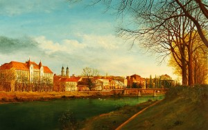 View Of Uzhhorod From The Left Bank Of The River Uzh, 1994, oil on canvas, 100x160