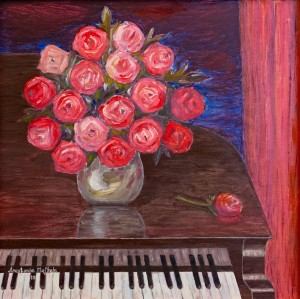 'Roses On An Old Piano', 2018, oil on masonite, 61x61