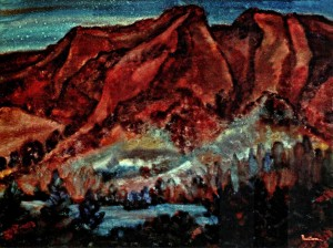 The Mountains and Lands of Yalta, 1988, fabriano, watercolour, 83х100