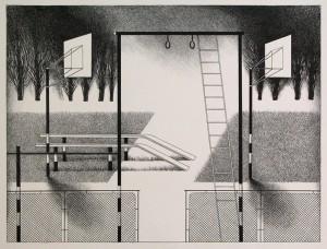 Спортивний майданчик, 1983, пап.літографія,33х45