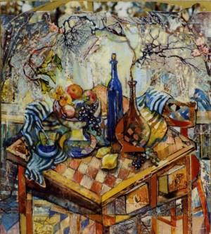 Натюрморт на шаховій дошці, 2003, пап., авт. техн., 28х23