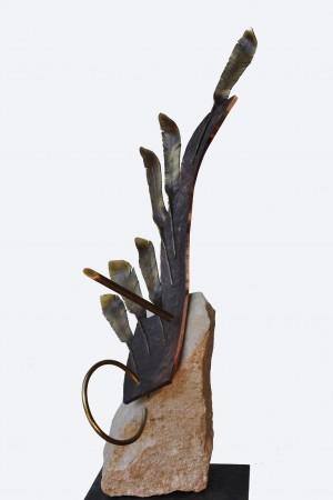 Перерваний політ, 2012, мармур, кована мідь, латунь, Н=60
