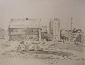 'Klaipeda', 1986, pencil on paper, 49,5х63