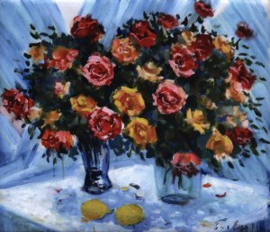 Roses On A Blue Background, 1999, 60x70