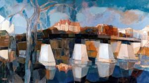 Uzhhorod Bridge, 2008, oil on canvas, 100x180