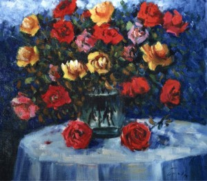 Roses On A Round Table, 1994, 60x70