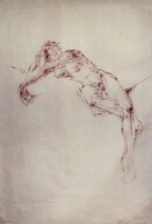 Nude, 1940, paper, tempera, 90x60
