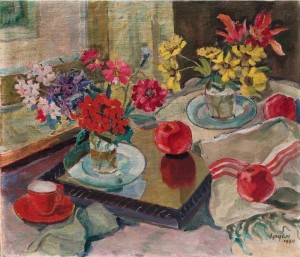 Still Life with apples, flowers and a mirror, 1950