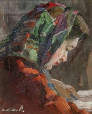 Дівчина у хустині, (Етюд), 1955, к.о. 31х24