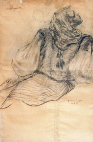 Girls Portrait, 1940, coal on paper, 125х85,5