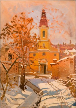 Roman Catholic Church In Old Town, the 1990s, oil on canvas, 60x80