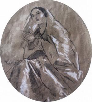 Madonna, 1930s, coal, guache on cardboard, 30x26