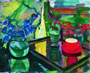Still life with the red cupnand bluebells, 1946