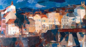 Gulls Over The River Uzh, 1984, oil, tempera on canvas, 95x193