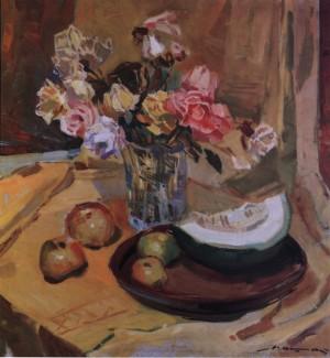 Натюрморт з трояндами і динею, 1976, п.о. 85х80