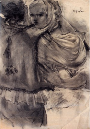 Farewell, 1946, coal on paper, 123х86