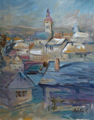 Százhalombatta, the 1990s, oil on canvas, 77x58