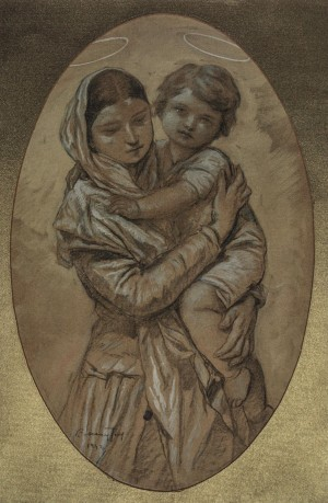 Motherhood, 1942, paper, guache, coal, 93,5х62,7