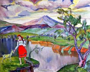 Пейзаж з річкою, п.о. 120х150
