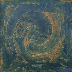 Snail, from the photo archive of Y. Nebesnyk, 1990, oil on canvas, 50x50