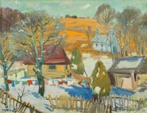 Village In Winter, the 1950s, oil on canvas, 59,5x88