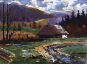 Хатина в селі Ставне, 1980, 60x80