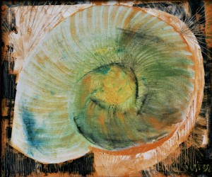 Snail, from the photo archive of Y. Nebesnyk, 1992, oil on canvas, 77x91