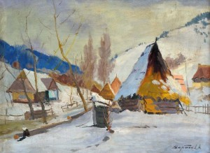 Village In Winter, 1960, oil on canvas, 60x80