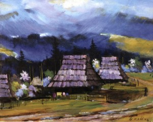 Huts Near The Forest, 1986, 50x60