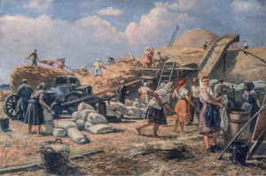 Threshing At The Collective Farm, 1952, oil on canvas, 97x142