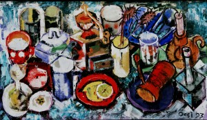 Morning Table, from the photo archive of Y. Nebesnyk, 1993, oil on canvas, 54x91,5