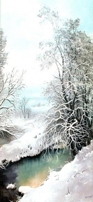 'The First Snow', 2000, oil on canvas, 51,7х90,5