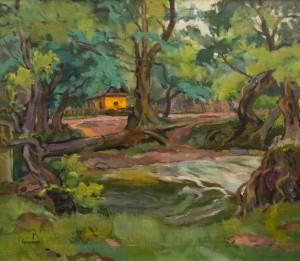 Пейзаж з хаткою, 1950-ті, п.о., 59х68,5