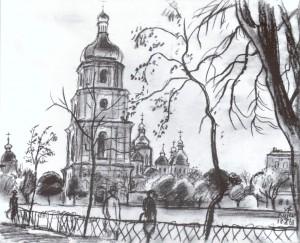Київ, 1961, пап.чорна крейда, 36х45