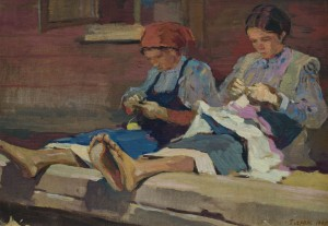 Girls while embroidering, 1949