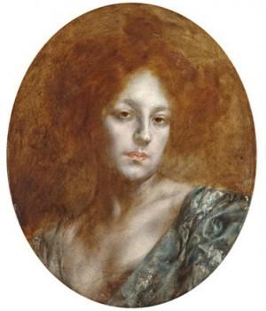 Дівчина з рудим волоссям, дерево,о., 55х46,5