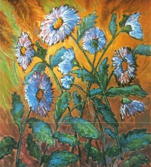 Chrysanthemums oil on fibreboard